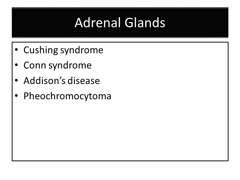 Adrenal Glands Cushing syndrome Conn syndrome Addison's disease Pheochromocytoma