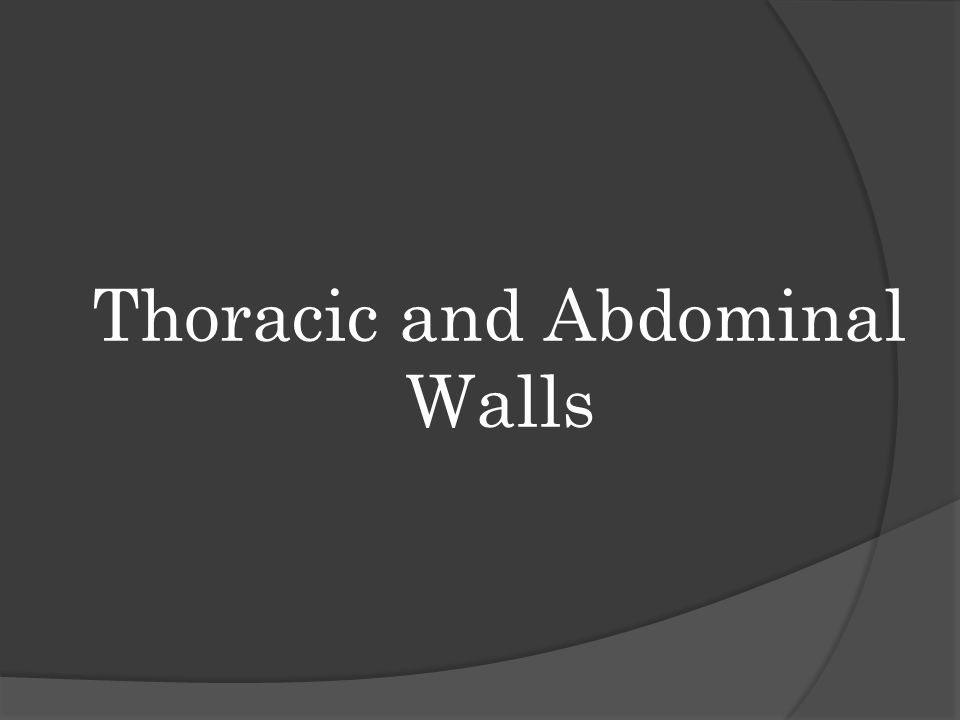 Thoracic and Abdominal Walls