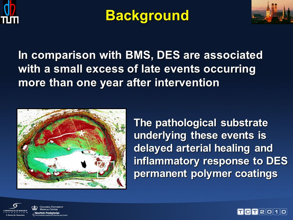 Background In comparison with BMS, DES are associated with a small excess of late events occurring more than one year after intervention * The pathological substrate underlying these events is delayed arterial healing and inflammatory response to DES permanent polymer coatings