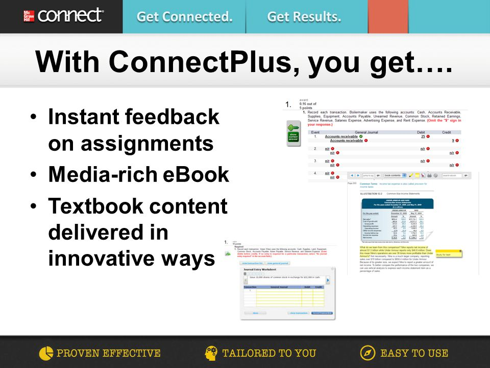 Are you connected financial accounting making the connection 4 instant feedback on assignments media rich ebook textbook content delivered in innovative ways with connectplus you get fandeluxe Images