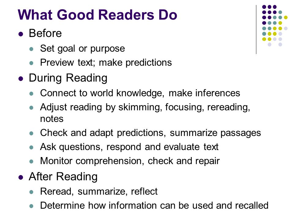 What Good Readers Do Before Set goal or purpose Preview text; make predictions During Reading Connect to world knowledge, make inferences Adjust reading by skimming, focusing, rereading, notes Check and adapt predictions, summarize passages Ask questions, respond and evaluate text Monitor comprehension, check and repair After Reading Reread, summarize, reflect Determine how information can be used and recalled