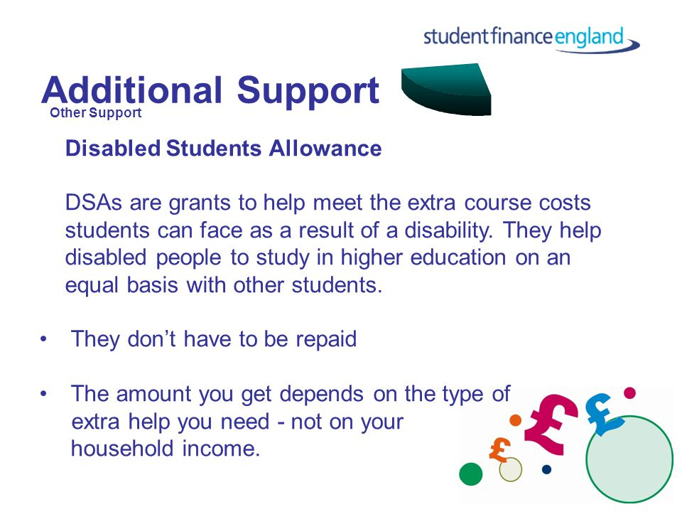 Additional Support Disabled Students Allowance DSAs are grants to help meet the extra course costs students can face as a result of a disability.