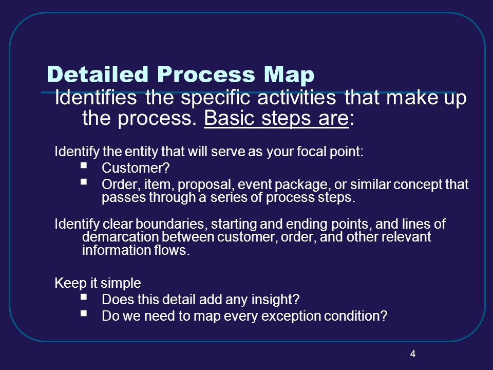 4 Detailed Process Map Identifies the specific activities that make up the process.