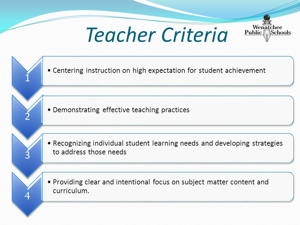 Teacher Criteria 1 Centering instruction on high expectation for student achievement 2 Demonstrating effective teaching practices 3 Recognizing individual student learning needs and developing strategies to address those needs 4 Providing clear and intentional focus on subject matter content and curriculum.