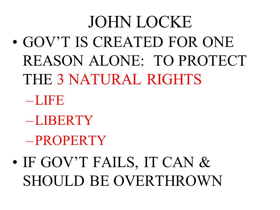 What parts of the Government and ways of thinking can be traced to John Locke???