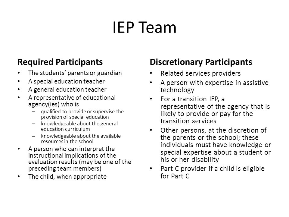 IEP Team Required Participants The students' parents or guardian A special education teacher A general education teacher A representative of educational agency(ies) who is – qualified to provide or supervise the provision of special education – knowledgeable about the general education curriculum – knowledgeable about the available resources in the school A person who can interpret the instructional implications of the evaluation results (may be one of the preceding team members) The child, when appropriate Discretionary Participants Related services providers A person with expertise in assistive technology For a transition IEP, a representative of the agency that is likely to provide or pay for the transition services Other persons, at the discretion of the parents or the school; these individuals must have knowledge or special expertise about a student or his or her disability Part C provider if a child is eligible for Part C