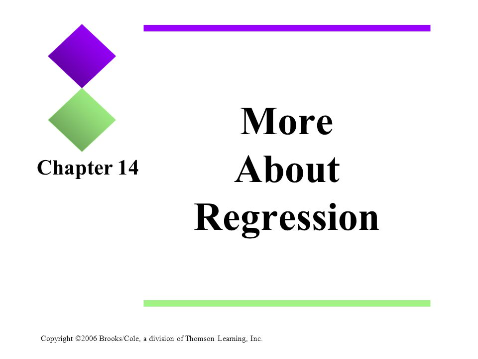 Copyright ©2006 Brooks/Cole, a division of Thomson Learning, Inc. More About Regression Chapter 14