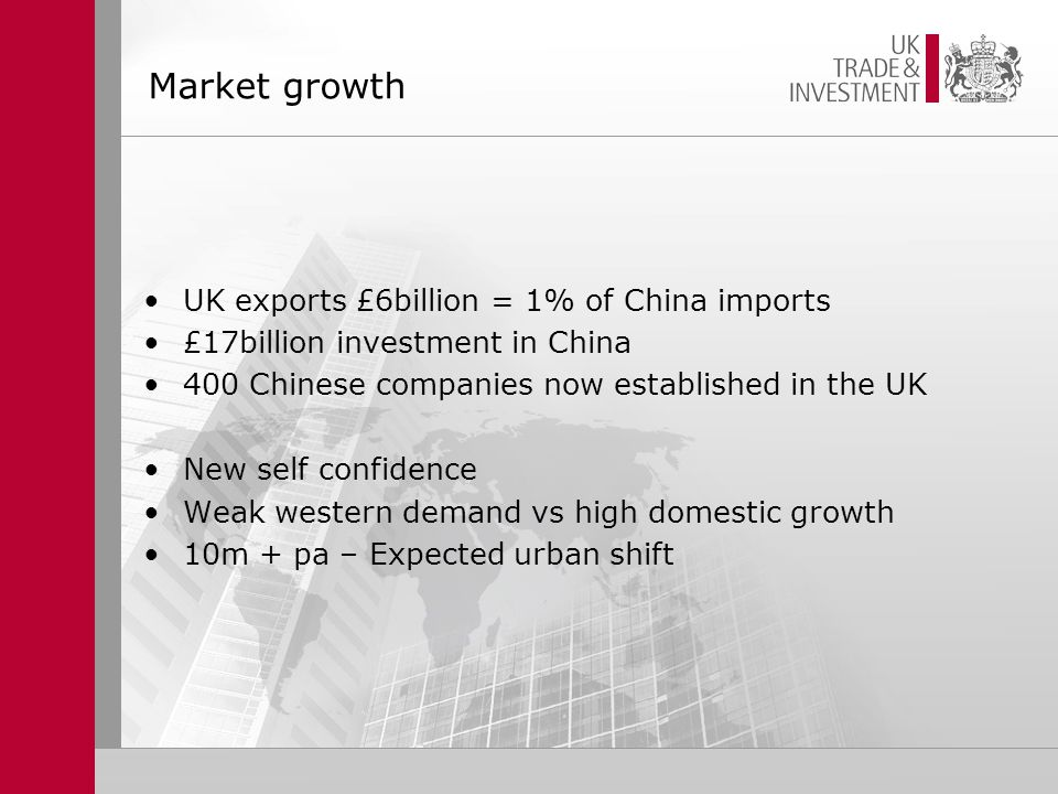 Market growth UK exports £6billion = 1% of China imports £17billion investment in China 400 Chinese companies now established in the UK New self confidence Weak western demand vs high domestic growth 10m + pa – Expected urban shift