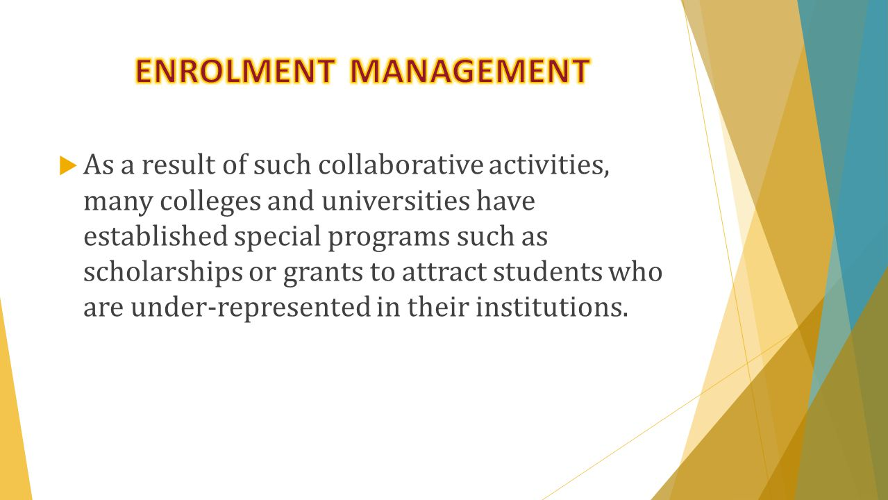  Of primary importance to the work of the Office of Institutional Research is enrollment management.