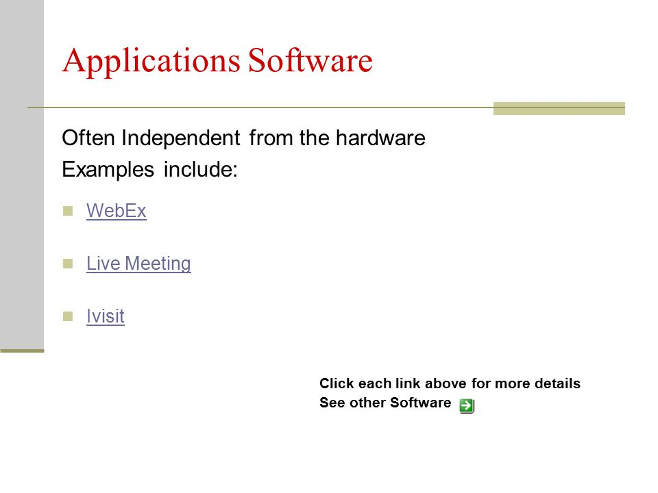 Applications Software Click each link above for more details See other Software Often Independent from the hardware Examples include: WebEx Live Meeting Ivisit