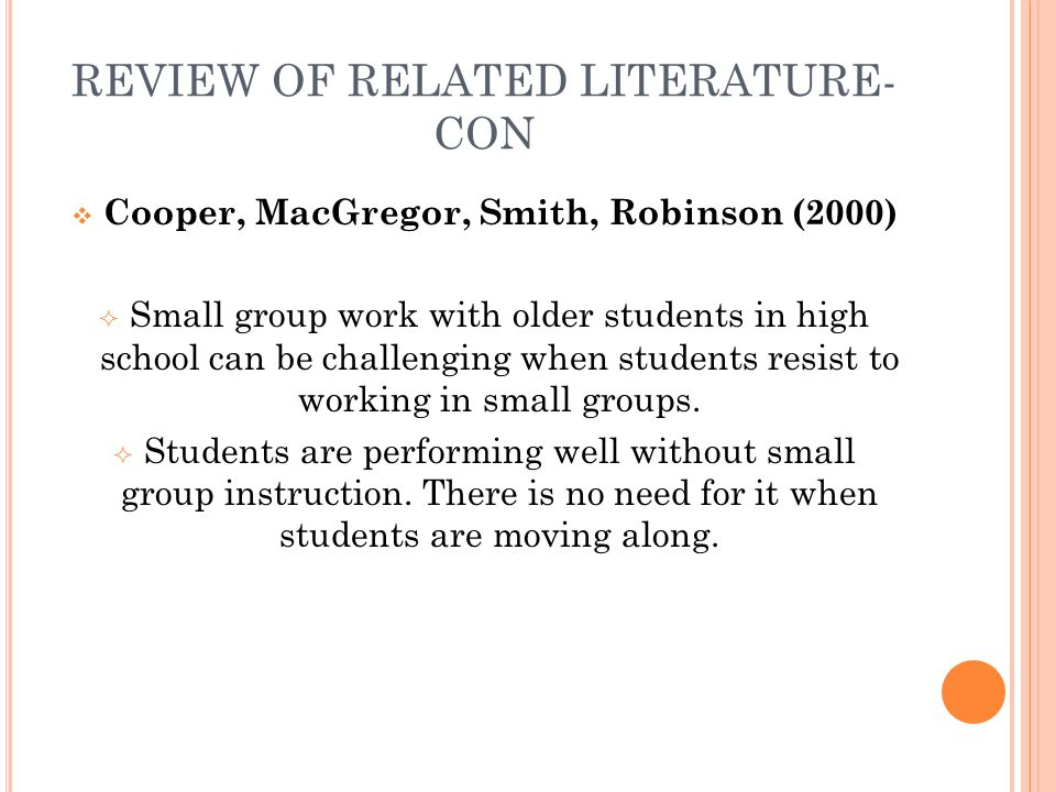 review of related literature on student What is a review of the literature a literature review is an account of what has been be organized around and related directly to the thesis student pdfs.