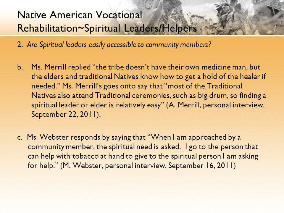 Native American Vocational Rehabilitation~Spiritual Leaders/Helpers 2.
