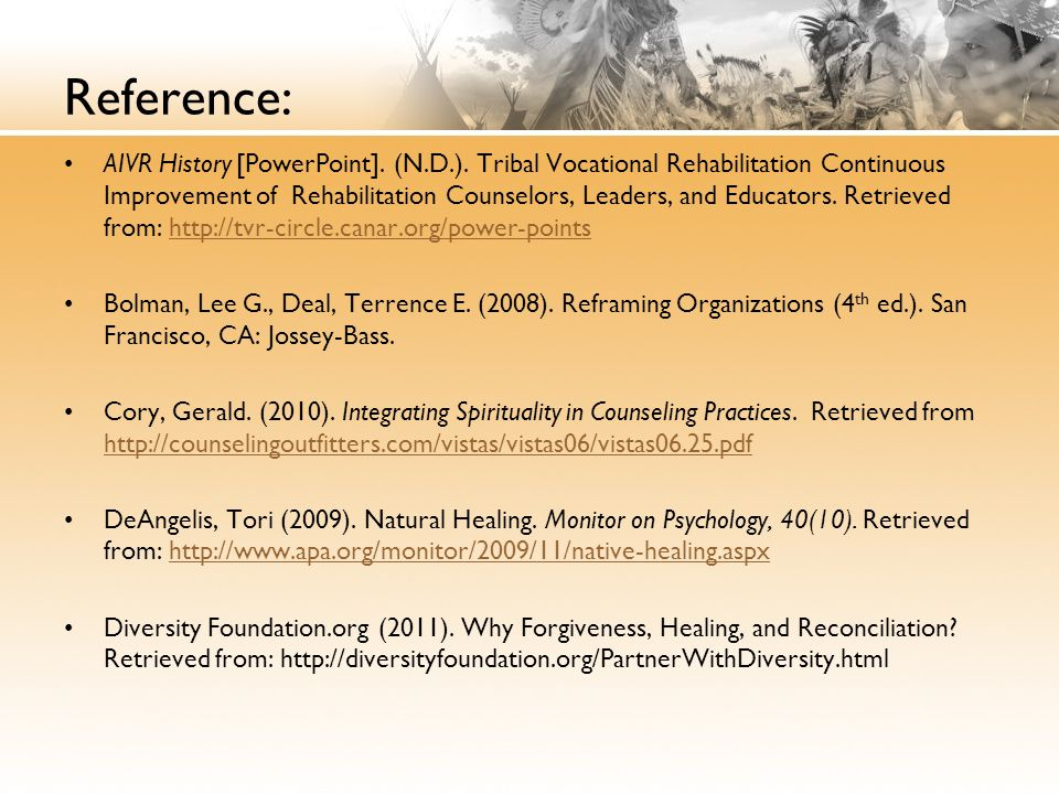 Reference: AIVR History [PowerPoint]. (N.D.).