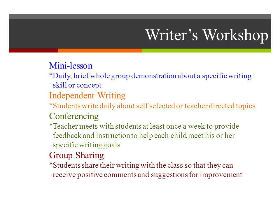 Writer's Workshop Mini-lesson *Daily, brief whole group demonstration about a specific writing skill or concept Independent Writing *Students write daily about self selected or teacher directed topics Conferencing *Teacher meets with students at least once a week to provide feedback and instruction to help each child meet his or her specific writing goals Group Sharing *Students share their writing with the class so that they can receive positive comments and suggestions for improvement