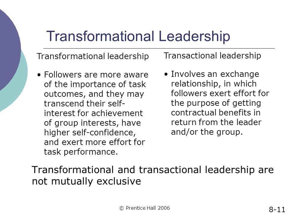 © Prentice Hall 2006 Transformational Leadership Transformational and transactional leadership are not mutually exclusive Transactional leadership Inv