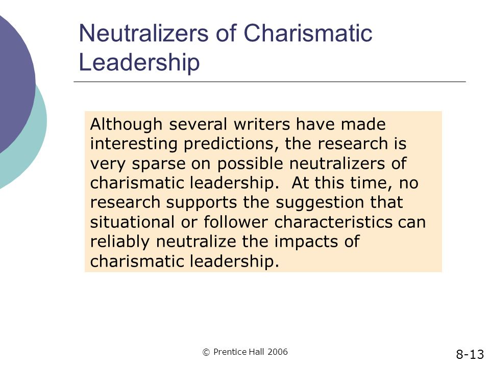 © Prentice Hall 2006 Neutralizers of Charismatic Leadership 8-13 Although several writers have made interesting predictions, the research is very spar