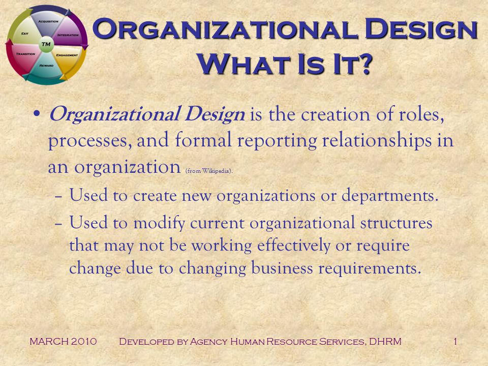 MARCH 2010Developed by Agency Human Resource Services, DHRM1 Organizational Design What Is It.