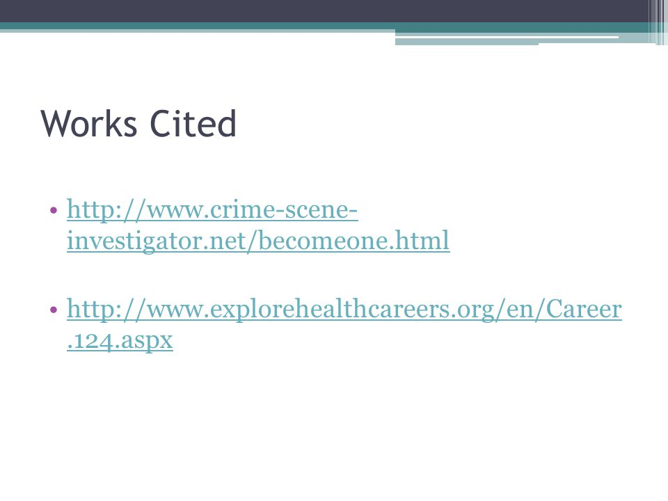 Works Cited   investigator.net/becomeone.htmlhttp://  investigator.net/becomeone.html