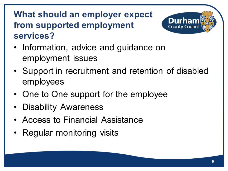 What should an employer expect from supported employment services.
