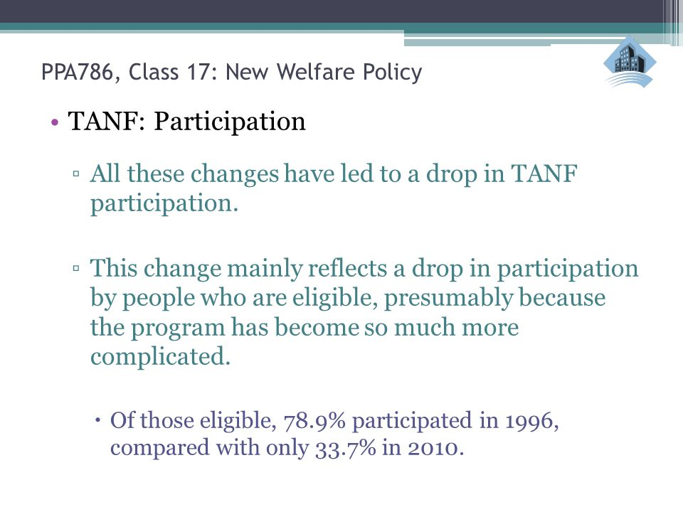 TANF: Participation ▫All these changes have led to a drop in TANF participation.
