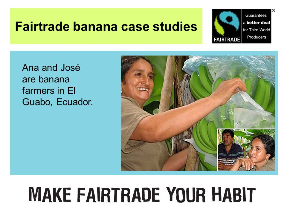 Fairtrade banana case studies Ana and José are banana farmers in El Guabo, Ecuador.