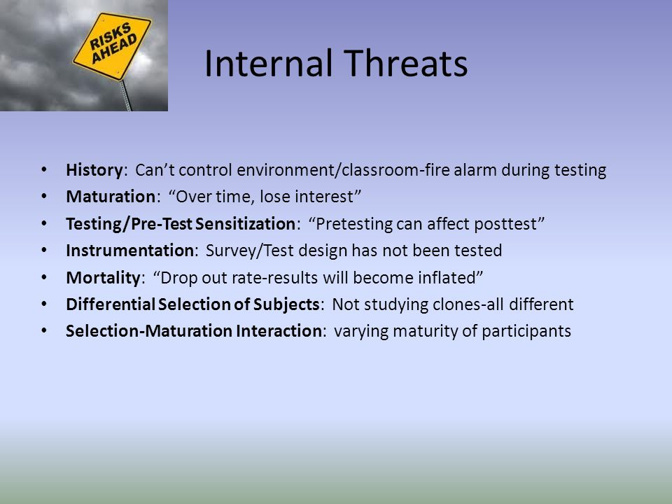 Internal Threats History: Can't control environment/classroom-fire alarm during testing Maturation: Over time, lose interest Testing/Pre-Test Sensitization: Pretesting can affect posttest Instrumentation: Survey/Test design has not been tested Mortality: Drop out rate-results will become inflated Differential Selection of Subjects: Not studying clones-all different Selection-Maturation Interaction: varying maturity of participants