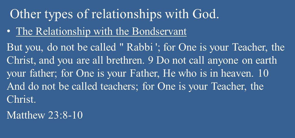 Other types of relationships with God.