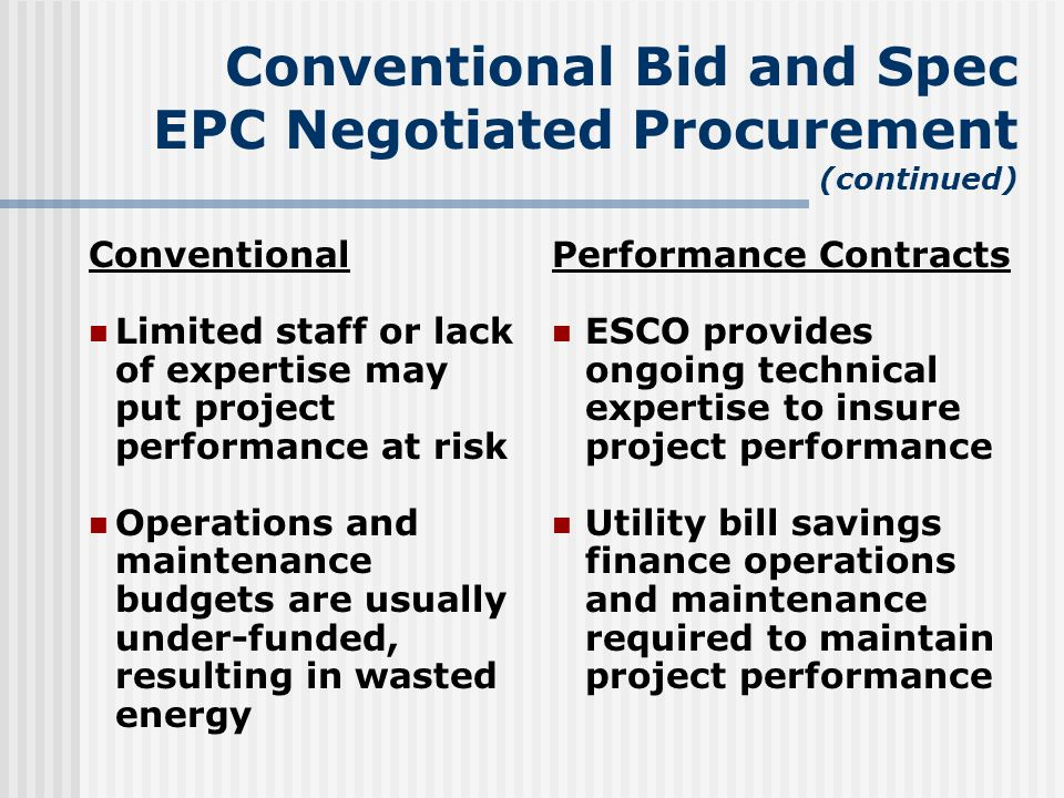 Conventional Bid and Spec EPC Negotiated Procurement (continued) Conventional Limited staff or lack of expertise may put project performance at risk Operations and maintenance budgets are usually under-funded, resulting in wasted energy Performance Contracts ESCO provides ongoing technical expertise to insure project performance Utility bill savings finance operations and maintenance required to maintain project performance