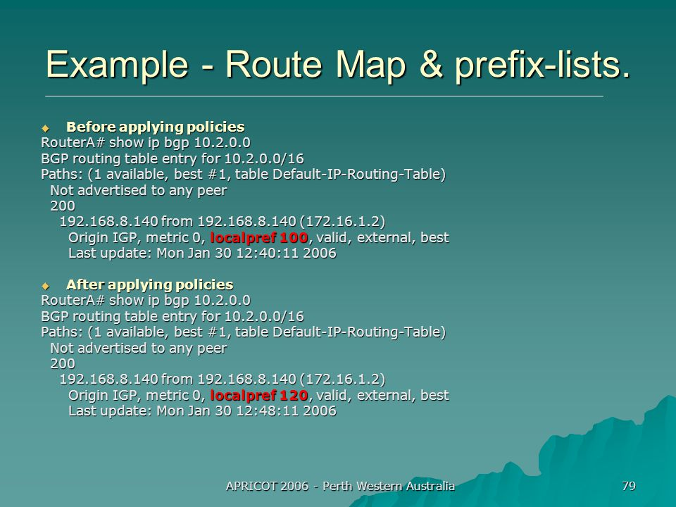 APRICOT 2006 - Perth Western Australia 79 Example - Route Map & prefix-lists.