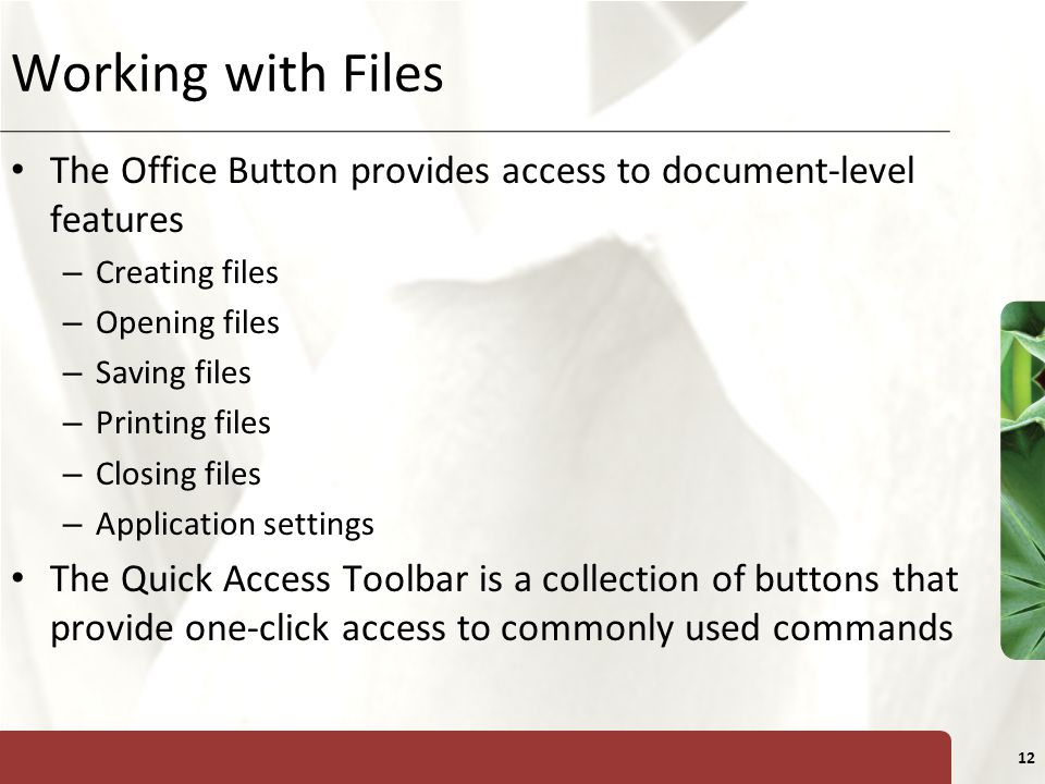 XP 12 Working with Files The Office Button provides access to document-level features – Creating files – Opening files – Saving files – Printing files – Closing files – Application settings The Quick Access Toolbar is a collection of buttons that provide one-click access to commonly used commands