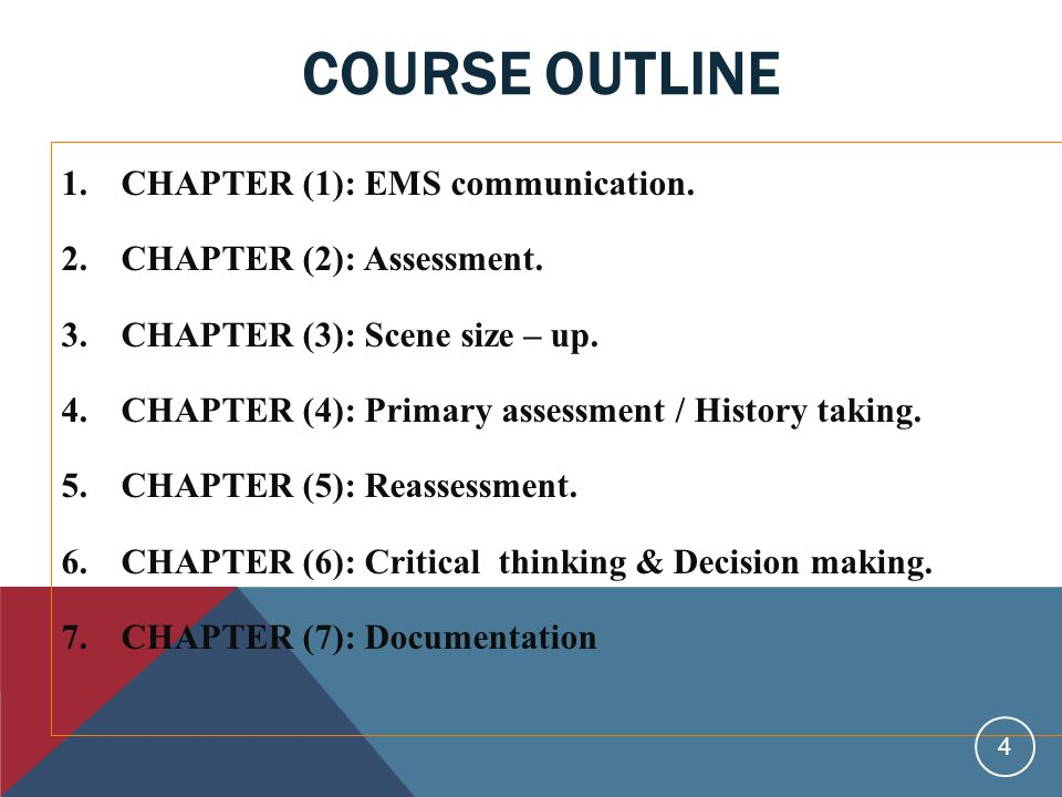 COURSE OUTLINE 1.CHAPTER (1): EMS communication. 2.CHAPTER (2): Assessment.