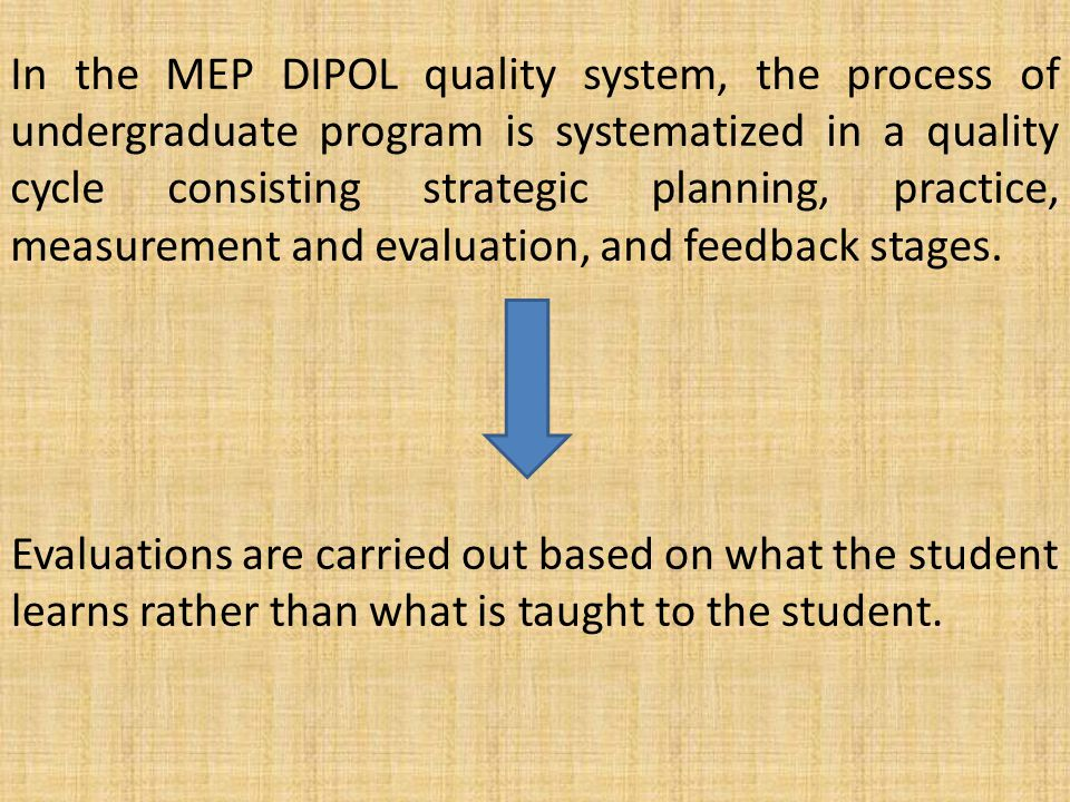 Evaluations are carried out based on what the student learns rather than what is taught to the student.