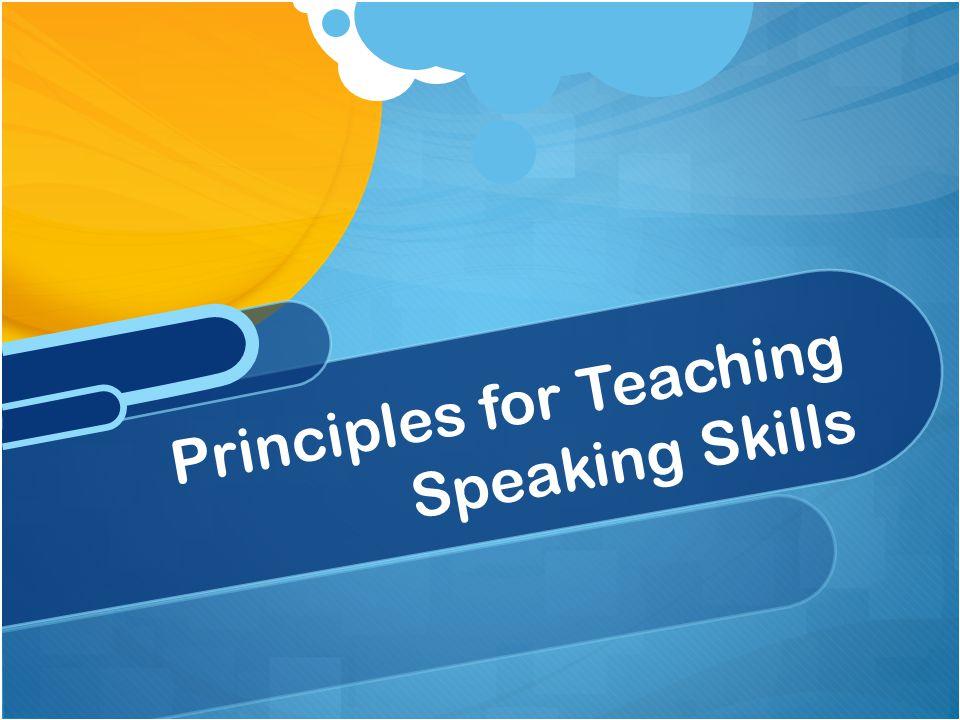 teaching speaking skills: