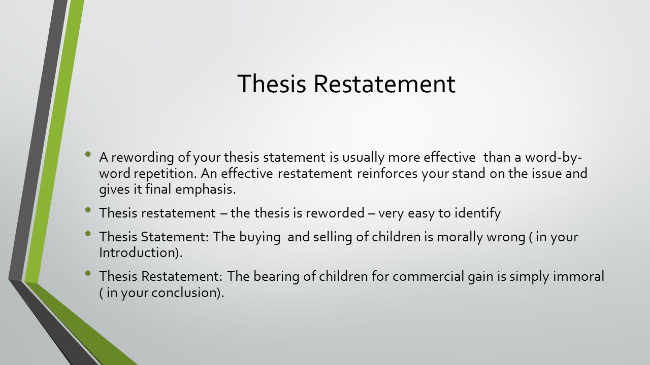 thesis restatement Your final research paper must have a thesis it is not simply reporting facts rather, it is making a case, proving a point, using the facts you research to back up your case.