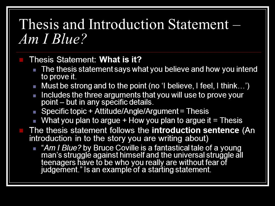 Making Thesis Statement