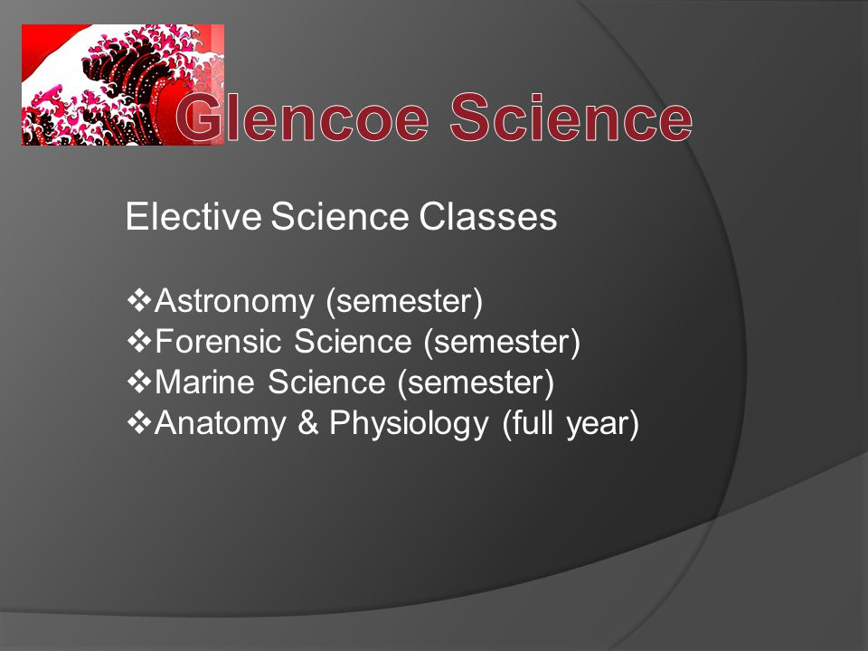 Elective Science Classes  Astronomy (semester)  Forensic Science (semester)  Marine Science (semester)  Anatomy & Physiology (full year)