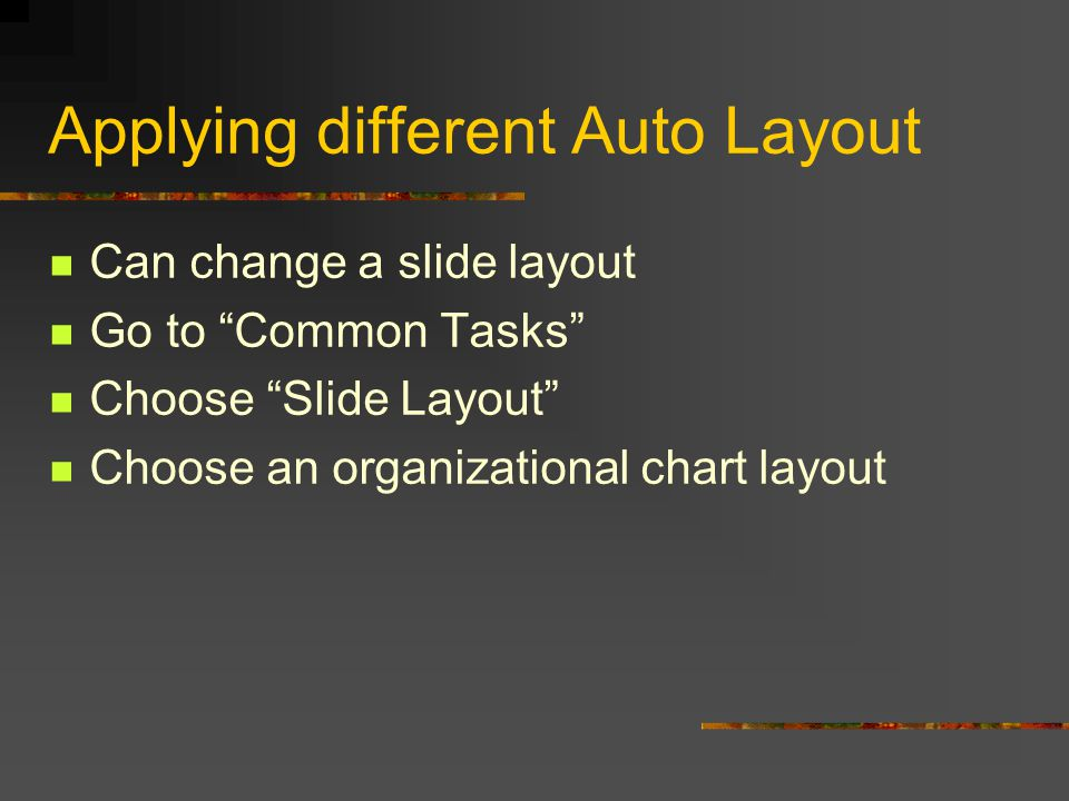 Chapter 2 – Format and Layout Copying a slide from one presentation to another Insert - slides from files Choose the browse button Choose which program you want to take the slides from Then choose which slides you want.