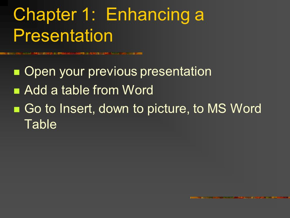 Lessons Enhance a presentation using other sources and drawing features Use summaries and templates Use the automation features to enhance a presentation