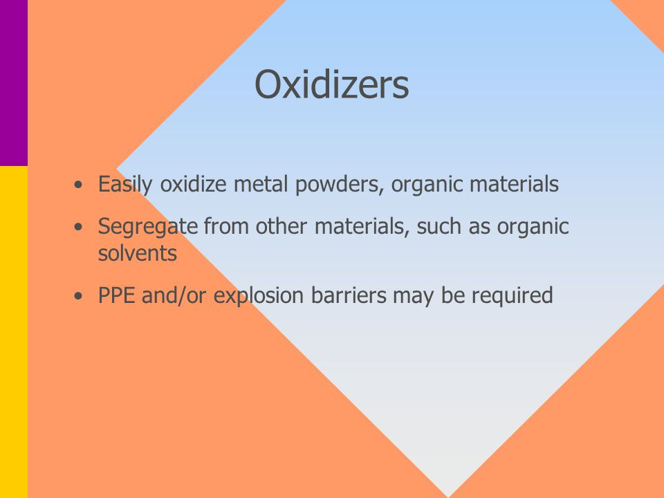 Oxidizers Easily oxidize metal powders, organic materials Segregate from other materials, such as organic solvents PPE and/or explosion barriers may be required
