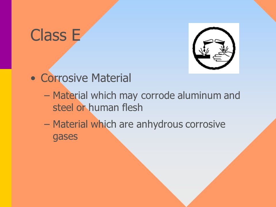 Class E Corrosive Material – –Material which may corrode aluminum and steel or human flesh – –Material which are anhydrous corrosive gases