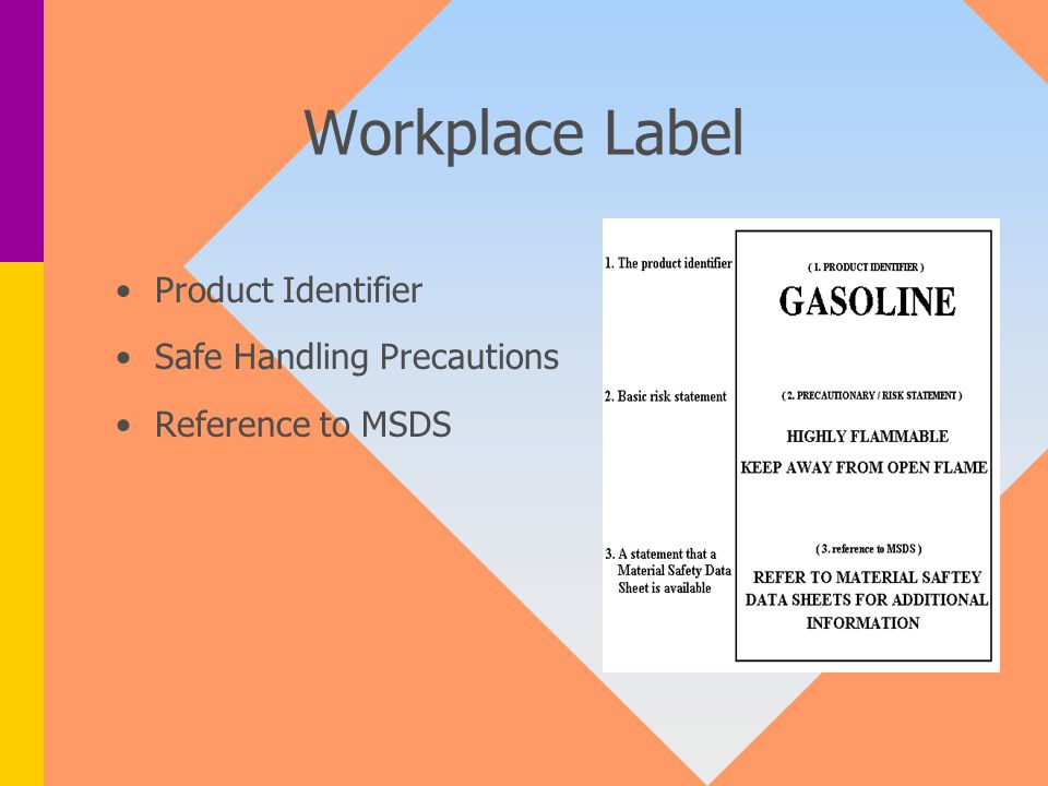Workplace Label Product Identifier Safe Handling Precautions Reference to MSDS