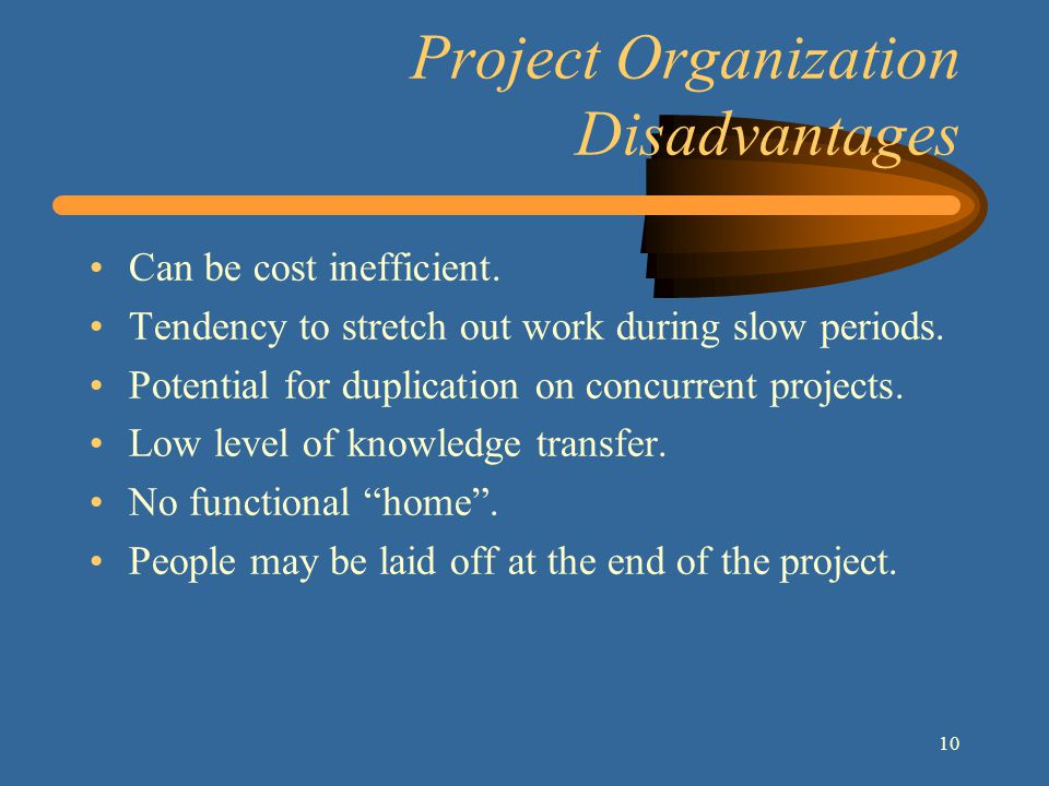10 Project Organization Disadvantages Can be cost inefficient.