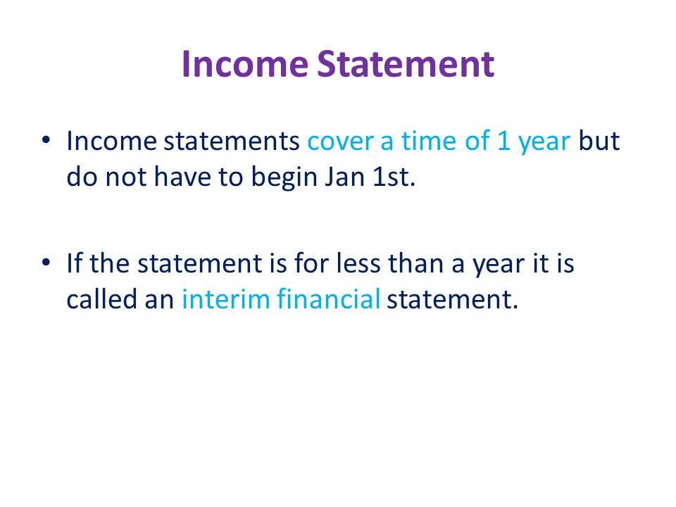 Income Statements Income Statement One of four financial – Income Statements