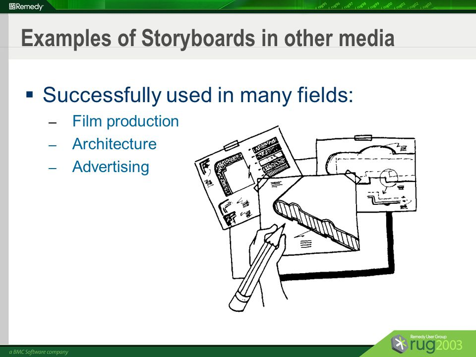 Remedy a bmc software company storyboarding the user interface 4 examples of storyboards in other media successfully used in many fields film production architecture advertising malvernweather Images