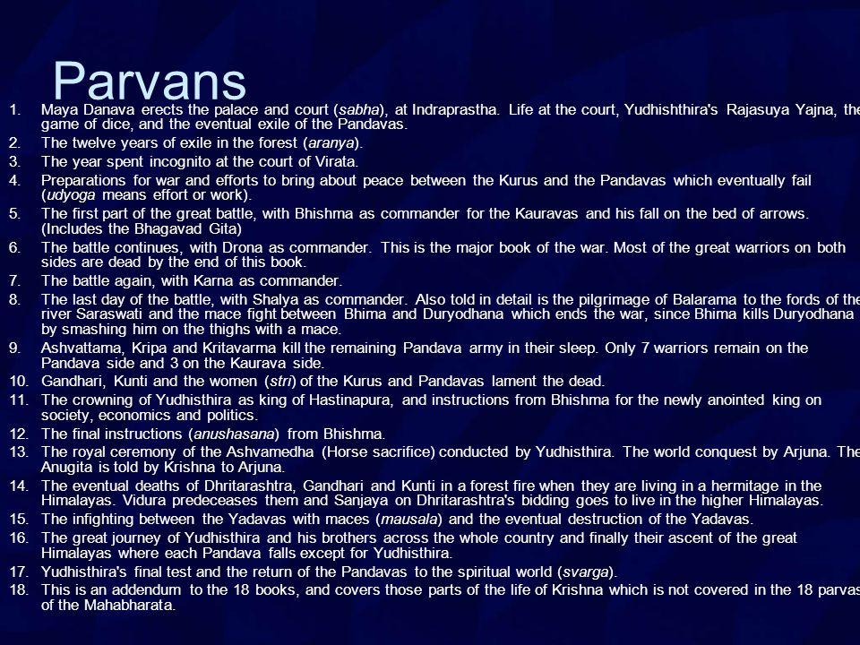 Parvans 1.Maya Danava erects the palace and court (sabha), at Indraprastha.