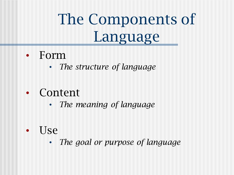 The Components of Language Form The structure of language Content The meaning of language Use The goal or purpose of language