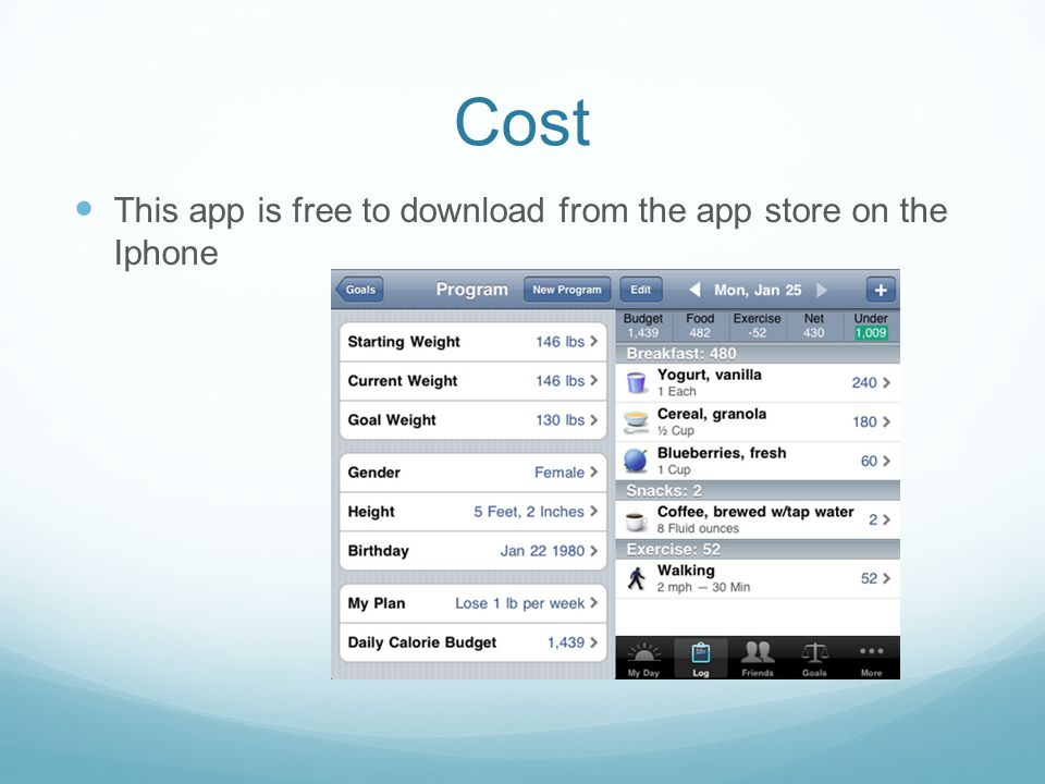 Cost This app is free to download from the app store on the Iphone