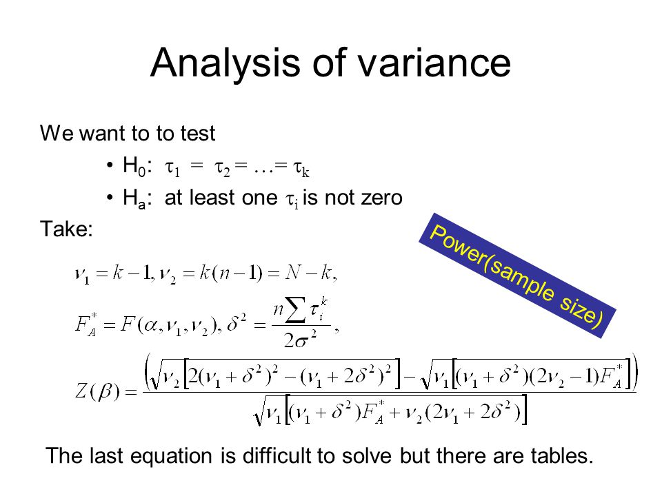 Analysis of variance We want to to test H 0 :  1 =  2 = …=  k H a : at least one  i is not zero Take: The last equation is difficult to solve but there are tables.