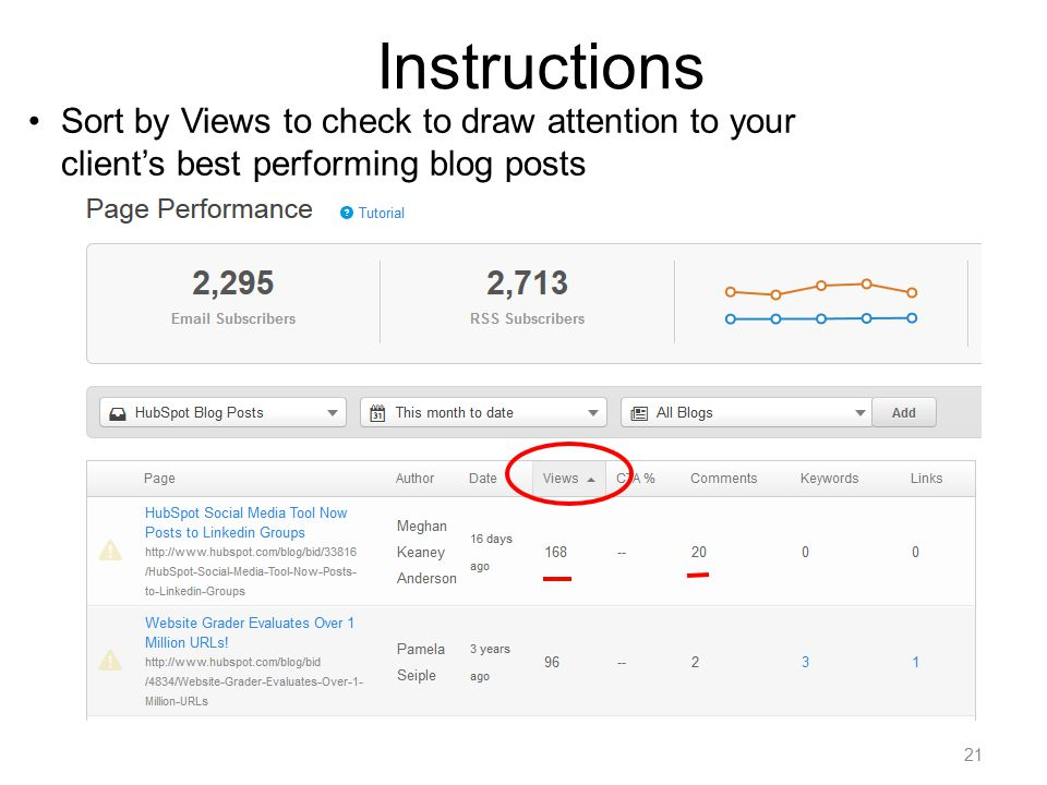 21 Instructions Sort by Views to check to draw attention to your client's best performing blog posts