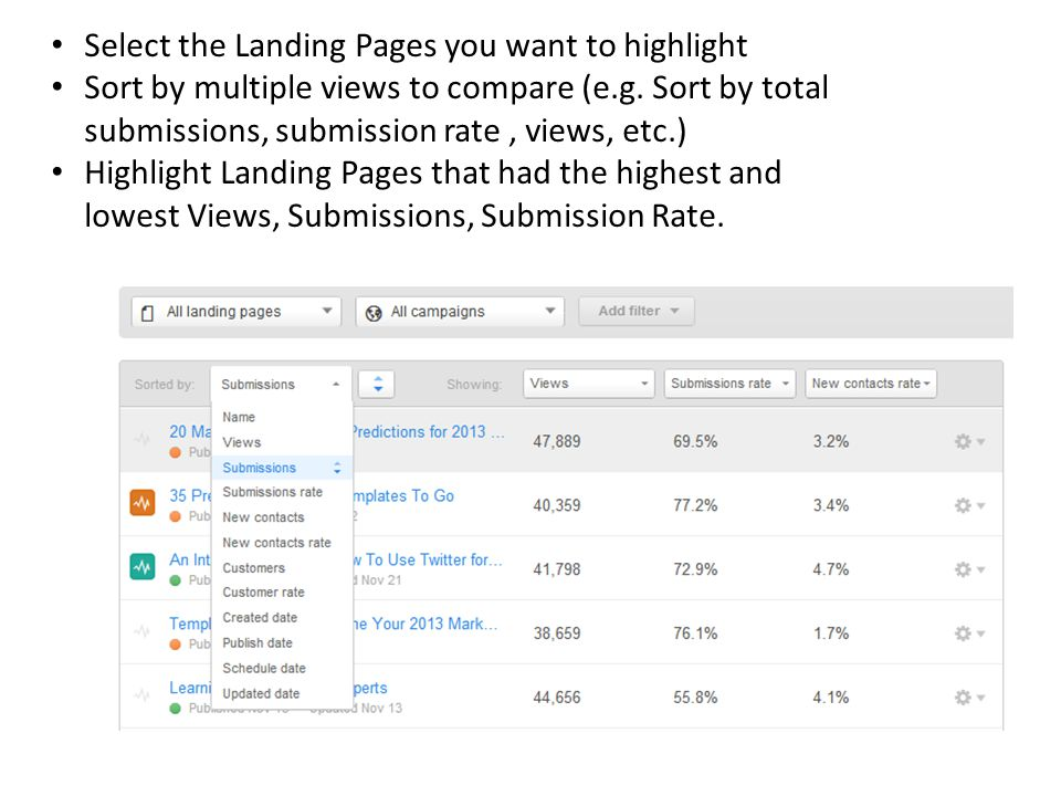 Select the Landing Pages you want to highlight Sort by multiple views to compare (e.g.